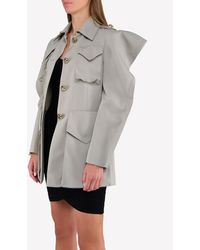 Nina Ricci Military Jacket With Structured Shoulders - Gray