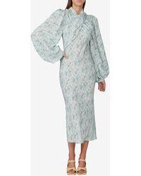 Acler Harriet Floral Draped Silk Dress Uk 8 - Blue
