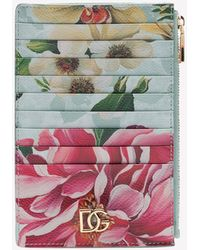 Dolce & Gabbana Vertical Credit Card Holder In Dauphine Calfskin With Floral Print - Multicolour