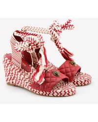 Kurt Geiger Mila 90 Quilted Leather Espadrille Wedges Eu 36 - Red