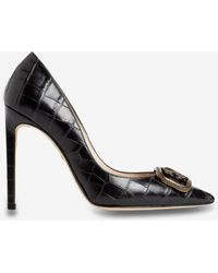 Roberto Cavalli Mirror Snake 105 Croc-embossed Court Shoes In Leather - Black