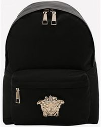 Versace Small Palazzo Nylon Backpack With Medusa Logo Plaque - Black