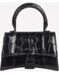 Balenciaga Mini Hourglass Top Handle Bag In Croc-embossed Calfskin - Black