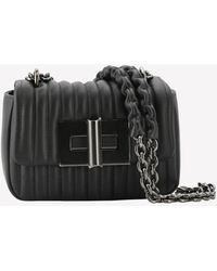 Tom Ford Natalia Mini Calf Leather Quilted Shoulder Bag - Black
