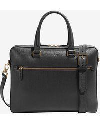 Ferragamo Medium Top Handle Business Bag In Calfskin - Black