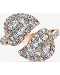 Anita Ko 18k Rose Gold Medium Diamond Leaf Ring With 0.72 Cts Baguettes & 0.62 Cts Round Diamonds - Metallic