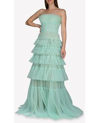 J. Mendel Tulle Strapless Tiered Gown Wrtwus_us 12 - Green