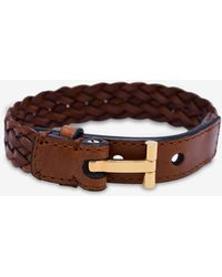 Tom Ford Woven Leather Gold-tone 't' Bracelet - Brown