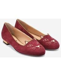 Charlotte Olympia Kitty Suede Leather Flats - Red