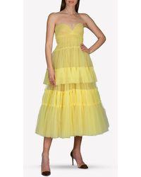 J. Mendel Tulle Strapless Tiered Midi Dress - Yellow