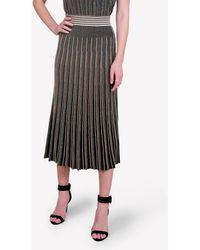 Bimba Y Lola Knitted Striped Midi Skirt S - Multicolour