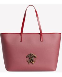 Roberto Cavalli Mirror Snake Tote Bag In Leather Onesize - Red