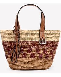 JW Anderson Mini Basket Tote Bag In Raffia Onesize - Natural