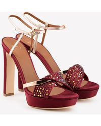 Malone Souliers Lauren 125 Satin-mirrored Leather Platform Sandals