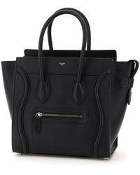 Celine Micro Luggage Top Handle Bag In Calfskin Onesize - Black