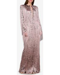 Tom Ford Silk-stretch Tiger Print Gown With All-over Fringe It 42 - Pink