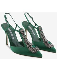 Manolo Blahnik Jamala 105 Emerald Satin Court Shoes - Green