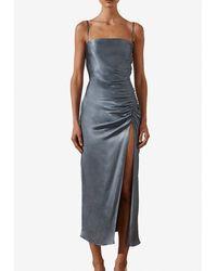 Shona Joy Lily Bias Ruched Satin Midi Dress Uk 8 - Blue