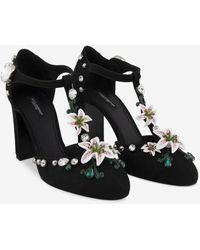 Dolce & Gabbana Brocaded T-strap Shoes With Embroidery - Black