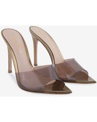 Gianvito Rossi Elle Metallic Leather-plexi Mules
