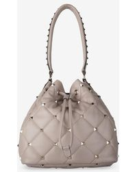 Valentino Small Leather Rockstud Bucket Bag - Natural