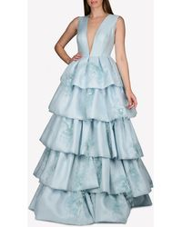 Isabel Sanchis Silk Plunge Neck Tiered Gown With Feather Trims - Blue