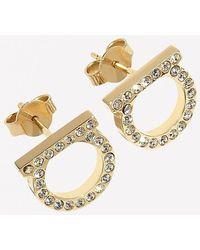 Ferragamo Gancini Crystal Embellished Earrings - Metallic