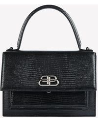 Balenciaga Xs Sharp Satchel Shoulder Bag In Lizard Embossed Calfskin - Black