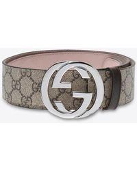 Gucci GG Supreme Belt In Canvas - Natural
