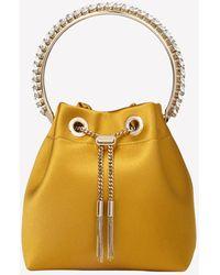 Jimmy Choo Small Bon Bon Satin Crystal-embellished Detail Bucket Bag - Yellow