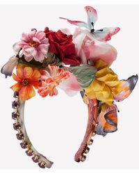 Dolce & Gabbana Floral And Butterfly Applique Headband - Multicolour