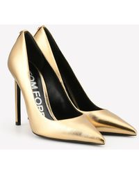 Tom Ford T-screw 105 Metallic Leather Pointed Court Shoes