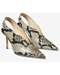 Jimmy Choo Saise 85 Snake-print Leather V-cut Vamp Pumps - Natural