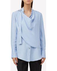 Acler Hillcrest Drape Crepe Shirt Uk 8 - Blue
