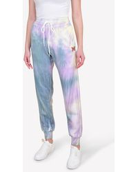 M Missoni Knitted Tie-dyed Track Pants With Monogram - Pink