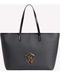 Roberto Cavalli Mirror Snake Tote Bag In Leather Onesize - Black