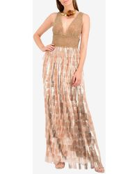 Isabel Sanchis Beaded Mesh Column Gown With Tiered Fringes - Metallic