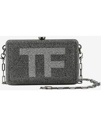 Tom Ford Mini Tf Crystal-embellished Box Clutch With Dual Straps - Black