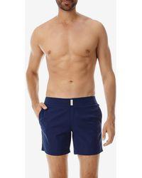 Vilebrequin Merise Men's Flat Belt Stretch Swim Shorts - Blue