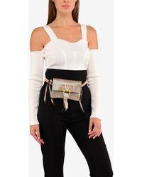 Valentino Vring Crinkled Metallic Goatskin Belt Bag - Black