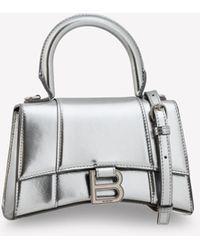 Balenciaga Small Hourglass Top Handle Bag In Metallic Calfskin