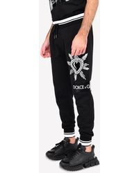 Dolce & Gabbana Dg Heart-embroidered Patch Jersey Track Pants - Black