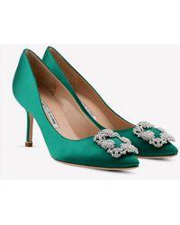 Manolo Blahnik Hangisi 70 Emerald Satin Court Shoes - Green