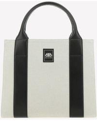 Balenciaga Logo Canvas Tote Bag - Natural