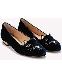 Charlotte Olympia Kitty Velvet Leather Flats - Blue