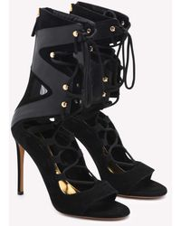 Alexandre Vauthier Carine Nero Lace-up Mid-calf Leather Boots - Black