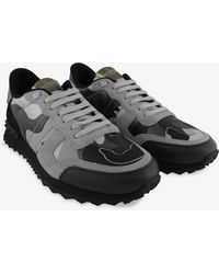 Valentino Rockrunner Camouflage Leather-canvas Trainers - Grey