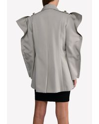 Nina Ricci Military Jacket With Structured Shoulders Fr 38 - Grey