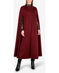 Valentino Cashmere Wool-blend Intarsia Cape - Red