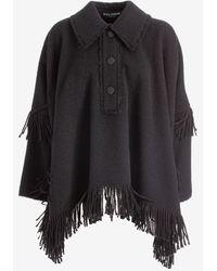 Dolce & Gabbana Fringed Wool Poncho It 42 - Black
